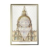 KAAK ヨーロッパ建築クリスタル磁器絵画レトロラグジュアリーアート幾何壁画ゴールデン枠レストランホテルホームリビングルームポーチの壁の装飾60 * 80センチメートル