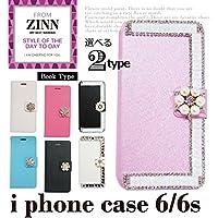 ZINN 手帳型アイフォンケース iphone6/6s book type ビジュー パール Gホワイト