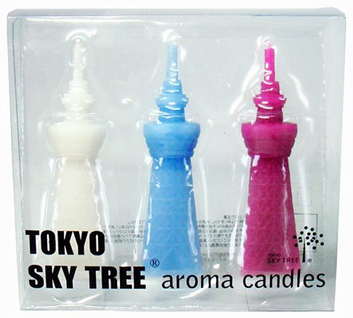 宙返り大いに変化する東京スカイツリー(R) アロマキャンドル3本セット