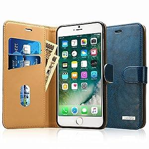 Labato iPhone 7 Plus ケース 手帳型 本革レザー アイフォン7プラス カバー TPU 財布型 スタンド機能 カードポケット 手作り ハンドメイド 耐摩擦 耐汚れ 全面保護 フリップ 人気 全四色 (ブルー lbt-I7L-02Z46)