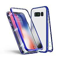Jonwelsy Samsung Galaxy S8 ケース 磁気吸着 透明 携帯電話 ケース 強化ガラス 360° 金属フレーム 完全保護 耐衝撃 擦り傷防止 磁性技術 (透明な青)
