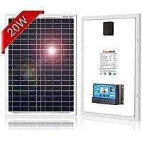 DOKIO ソーラーパネル 20W 12V 超高効率 コントローラ付き 自作のソーラー発電(太陽光発電)に最適な小型・家庭用太陽パネル(太陽電池)
