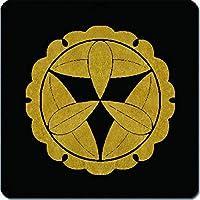 家紋 捺印マット 雪輪に九枚笹紋 11cm x 11cm KN11-2078