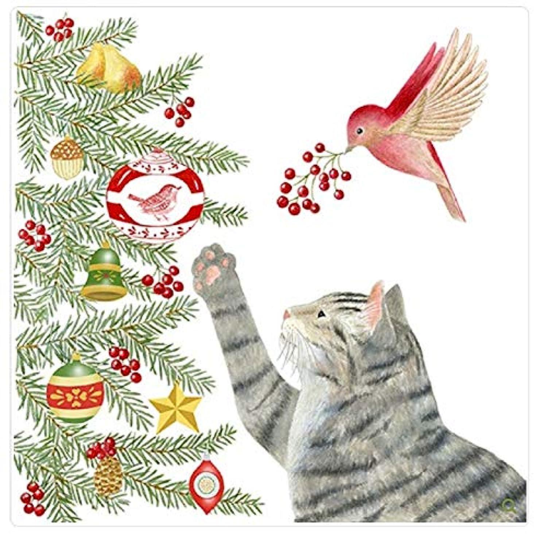 Alice Cottage フラワーサックタオル 猫とクリスマスツリー