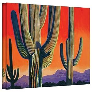 アート壁CactusオレンジギャラリーWrappedキャンバスアートby Rick Kersten、24by 81cm