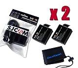 [SJCAM 正規品] バッテリーパック 2個 SJCAM SJ4000/SJ5000/M10/SJ5000 Plus対応 バッテリーパック 2個 3.7V/900mAh + デュアルUSBバ..