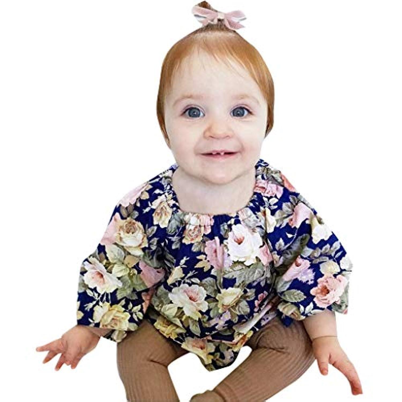 [ポクトロン] ベビー赤ちゃん長袖花柄フラワープリントジャンプスーツロンパース