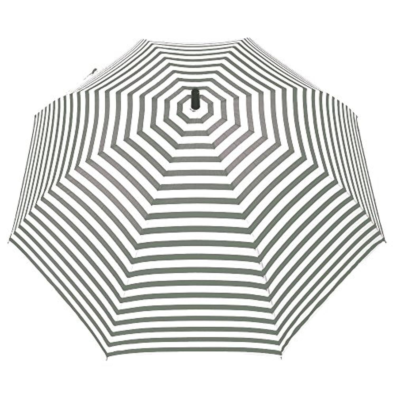 [婦人傘/女性用/母の日/プレゼント/敬老の日/ギフト/大きい/BIG] fancy rain O:KS ボーダープリント 65cmジャンプ傘 グレー