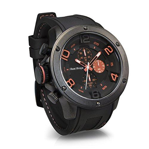 [フランテンプス]Franc Temps 腕時計 ガヴァルニ クロノグラフ (オレンジ) 黒文字盤 10気圧 防水 クオーツ FTGC-OR メンズ
