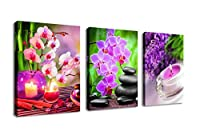 (30cm x 41cm 3P, Zen Art C) - Zen Canvas Wall Art SPA Pictures Stone Green Bamboo Pink Waterlily Painting- 3 Pieces Modern Artwork Canvas Prints for Home Office Kitchen Framed Ready to Hang
