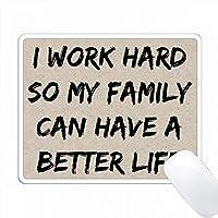 私は私の家族がより良い人生を送ることができるように頑張っています、黒文字 PC Mouse Pad パソコン マウスパッド