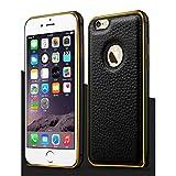 【 iphone6s / 6s plus対応 】4 色 iphone 6 / 6 plus レザー アルミバンパー ケース スマホ アイフォン カバー クロコダイル (ブラック, iphone6(iphone6s))