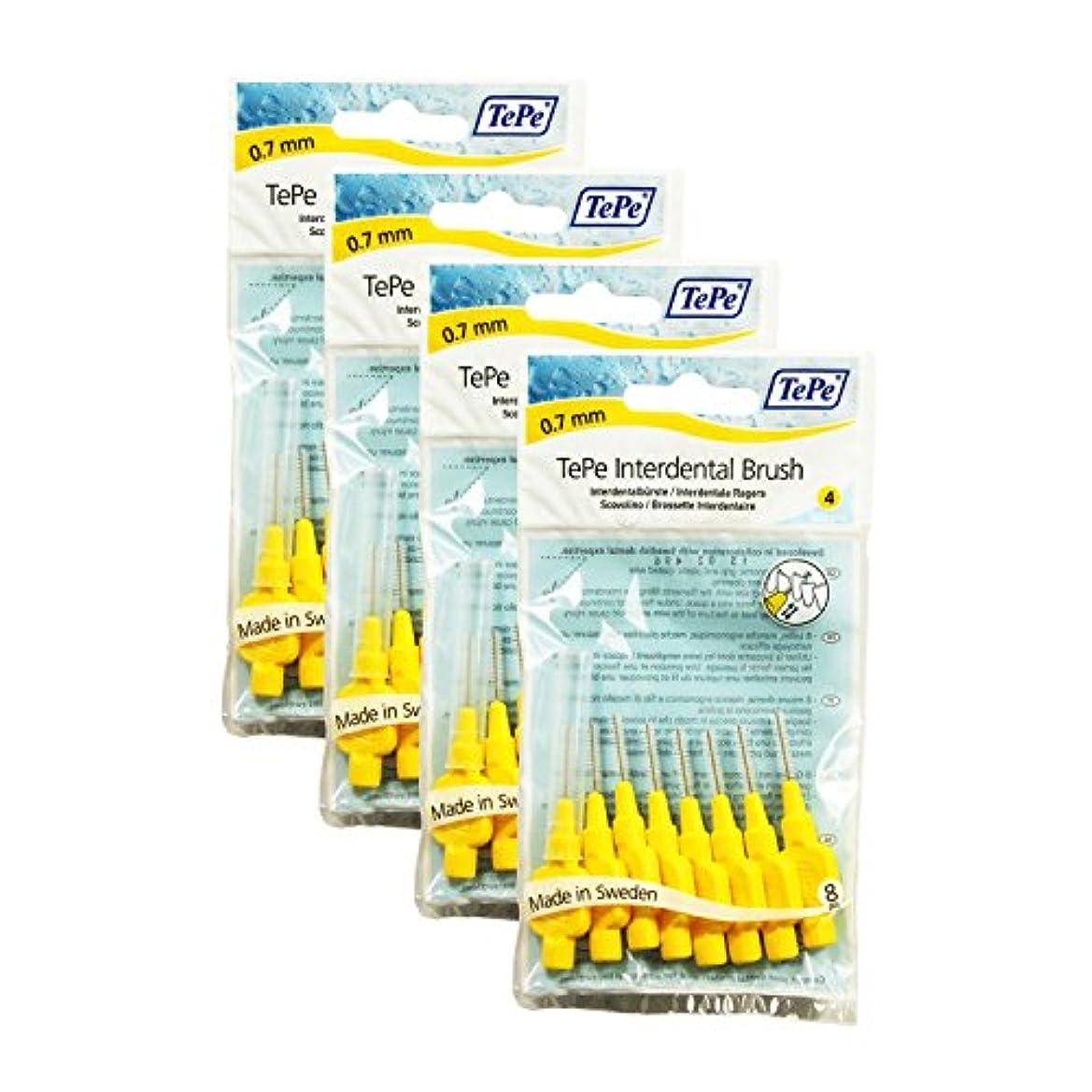 公平ジャンク刺繍TePe Interdental Brushes 0.7mm Yellow - 4 Packets of 8 (32 Brushes) by TePe