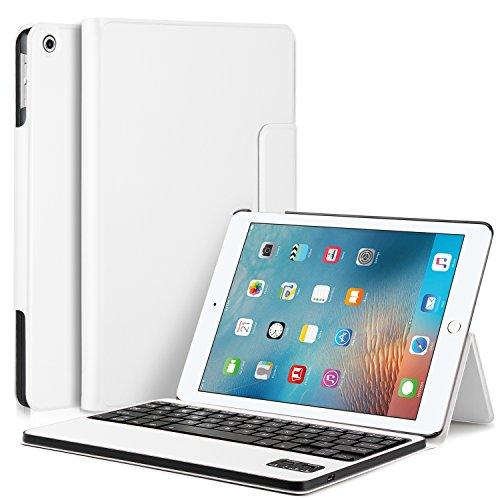 ELTD ipad pro 10.5 ケース, Apple ipad pro 10.5 キーボードカバー 開閉で自動的 一体型Bluetoothワイヤレスキーボード (Apple ipad pro 10.5, ホワイト)