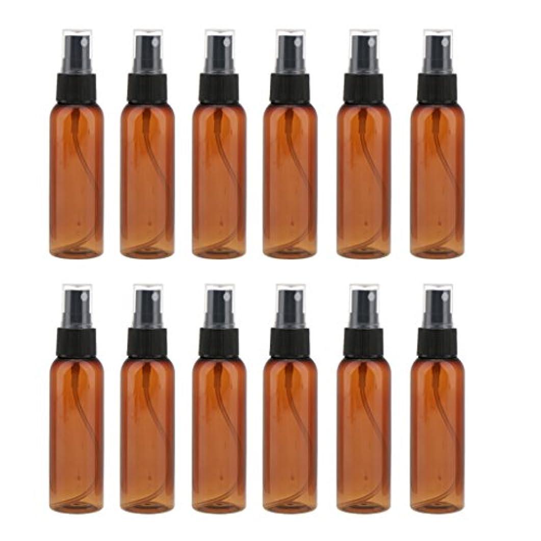 受信孤児知性12本の茶色のcomestic空のスプレーボトルの香水クリームアトマイザー60ml - ブラック