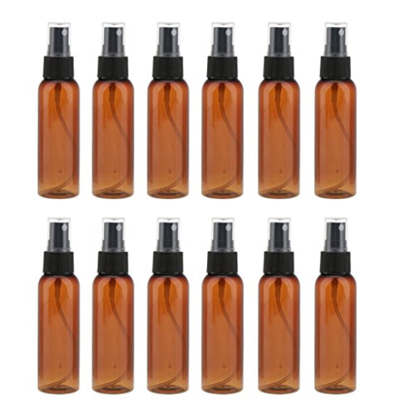 目指す状南アメリカ12本の茶色のcomestic空のスプレーボトルの香水クリームアトマイザー60ml - ブラック