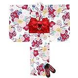 浴衣 子供 セット 女の子 古典柄の浴衣 3点セット(浴衣+作り帯:赤+下駄:赤 21cm)「生成り 赤系菊と雪輪」OCN12-7A-ya-setC