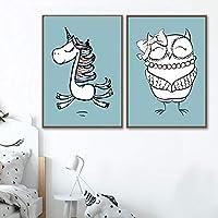 漫画動物ポスターキャンバスプリント壁アートキャンバス絵画壁キッズルーム壁の装飾-40×60センチ×2個フレームなし