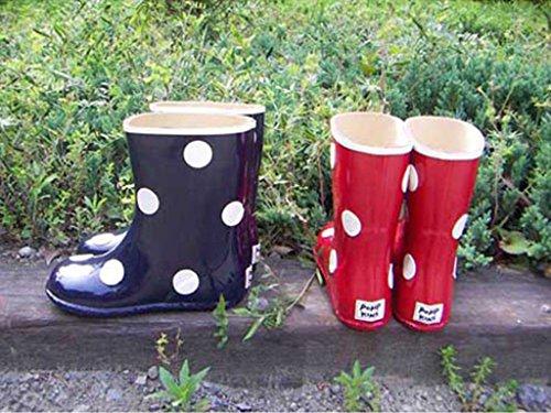 POMPKINS(ポプキンズ) キッズ・ジュニア ドット 長靴 レインブーツ 13~21cm アカ