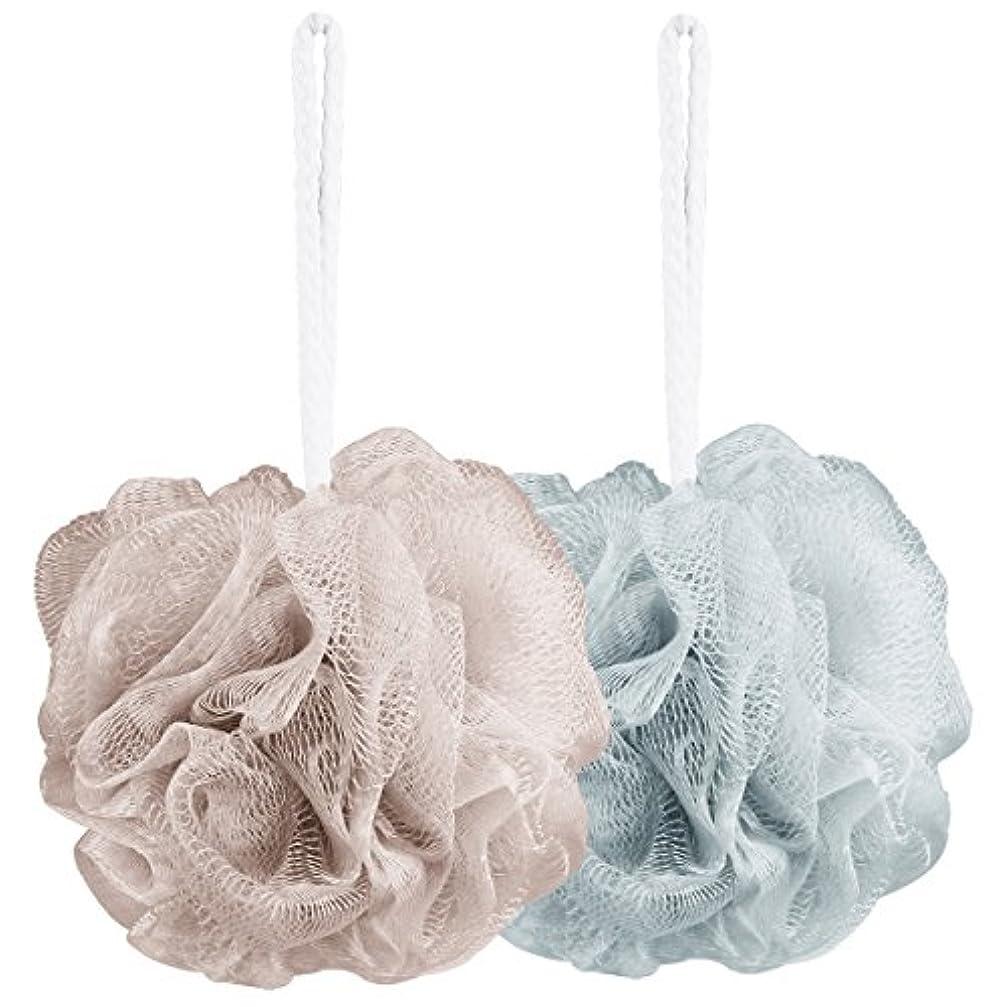 モッキンバード強調美徳Aahlsen 泡立てネット 超柔軟 シャワー用 ボディ用お風呂ボール 花形 タオル 2点セット