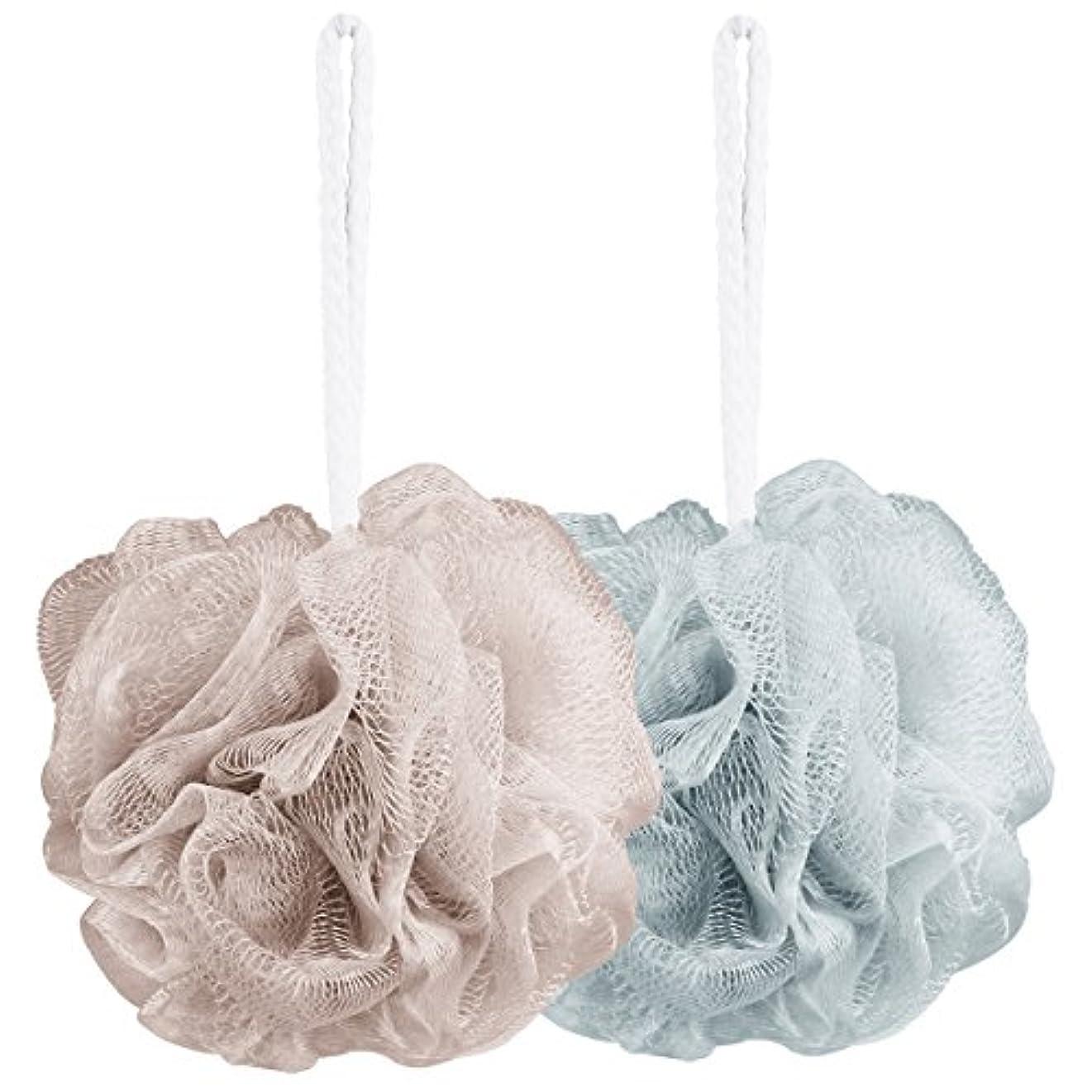 圧縮プリーツ針Aahlsen 泡立てネット 超柔軟 シャワー用 ボディ用お風呂ボール 花形 タオル 2点セット