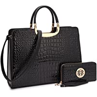 Beautiful Croco Leather Briefcase Computer Laptop Bag for Women Handbags Top Handle Satchel Purse Business Bag
