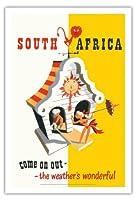 南アフリカ - アウトさあ - 天気は素晴らしいです - ビンテージな世界旅行のポスター によって作成された バーナード・サージェント c.1940s - アートポスター - 76cm x 112cm