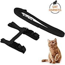 Airsspu Cat Harness Leash, Adjustable H Harness Nylon Strap Collar with Leash, Dogs Leash and Harness Set, for Small Cat and Pet Walking, Black