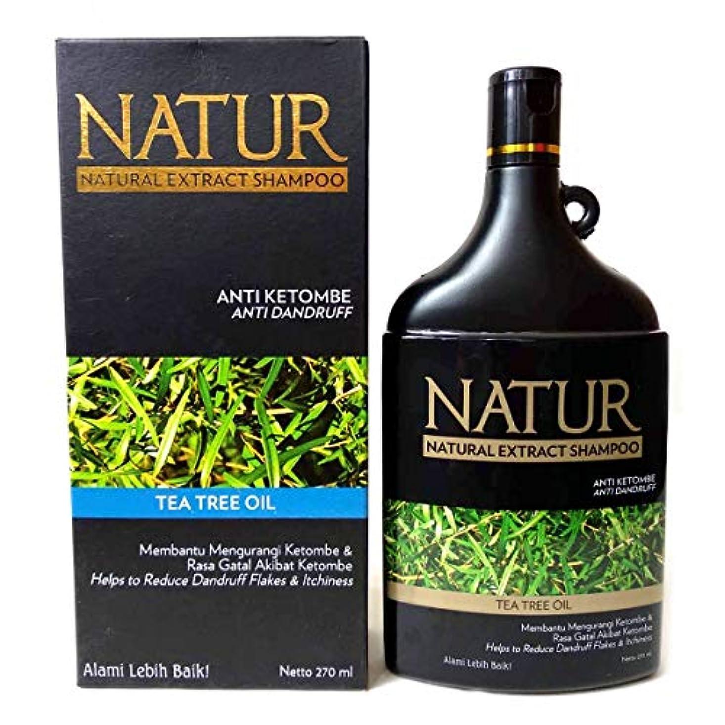 チーフ感謝している誘導NATUR ナトゥール 天然植物エキス配合 ハーバルシャンプー 270ml Tea tree oil ティートゥリーオイル [海外直商品]