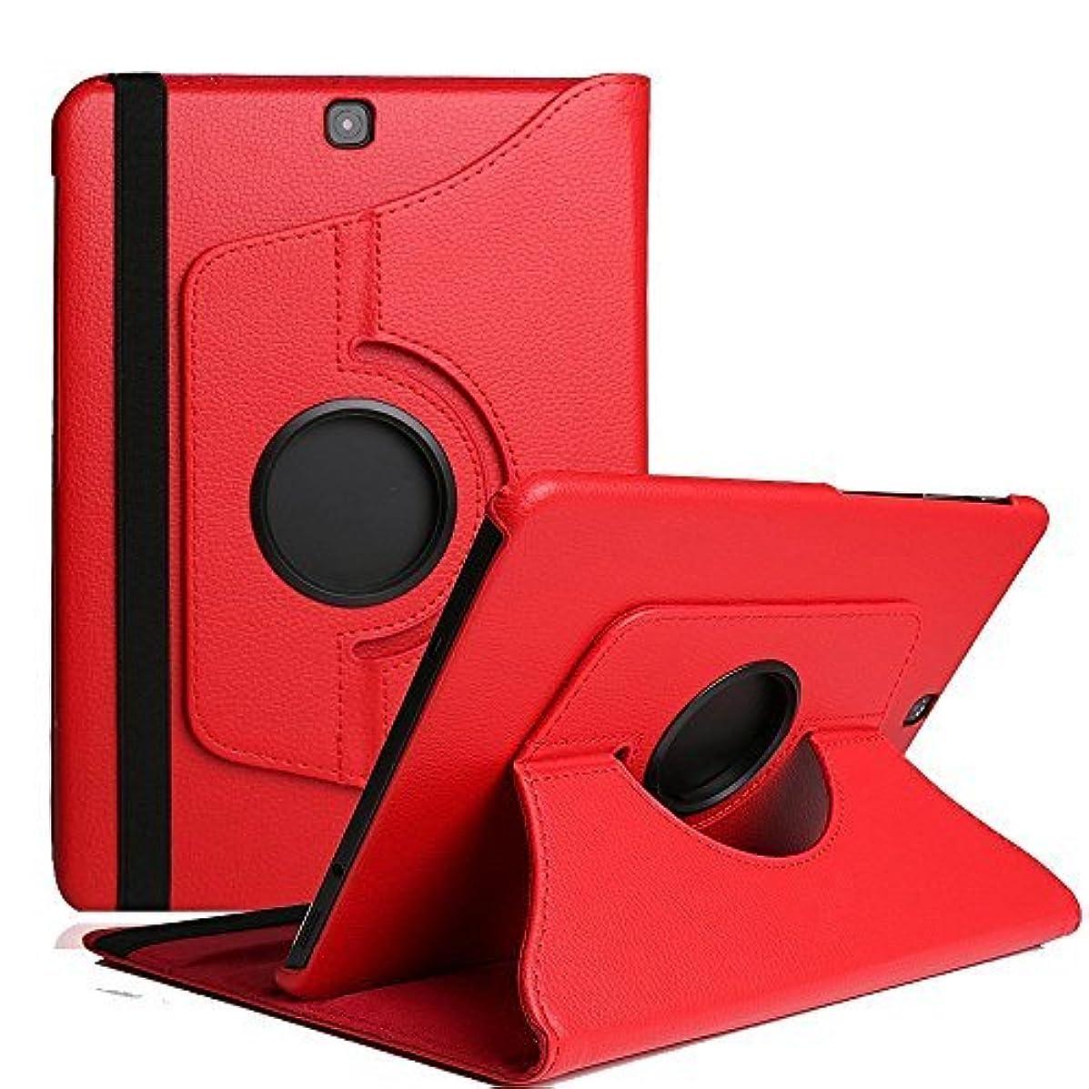 理想的ジャム愚かなクリアケース Galaxy Tab S2 8.0 三つ折り、SIMPLE DO 多機能 軽量 持ち運び便利 マグネット 生活防水 盗難防止 SM-T710/SM-T715対応(レッド)