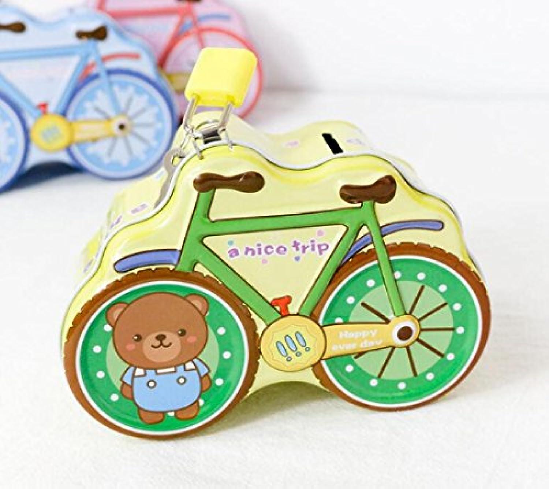 マネー バンク 自転車ピギーバンク楽しいティンプレート収納ボックス(イエロー)