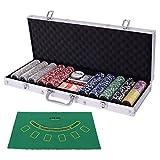 Costway ポーカーチップ チップ 500枚 ポーカーセット カジノチップ トランプ付き カジノゲーム シルバーケース