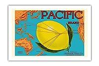 太平洋ブランド - ジョンストンフルーツ - 太平洋マップ - 柑橘類 - ビンテージなフルーツの木箱のラベル c.1917 - プレミアム290gsmジークレーアートプリント - 61cm x 91cm