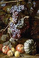 Still Life of Grapes Pomegranates Peaches Melon byアブラハム・ブリューゲルフルーツタイル壁画キッチンバスルーム壁後ろの油ストーブ範囲シンク止め板2x 34.25インチセラミック、光沢 Four Inch Marble S925__2x3_4iMarb_Tile_Mural