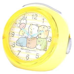 すみっコぐらし 目覚まし時計 アナログ LEDクロック 4曲メロディアラーム ボーダー イエロー