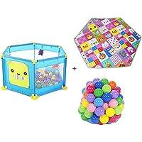 BSNOWF-ベビーサークル 幼児ポータブルプレイヤードボールとマット、屋内屋外プラスチック製の安全なロールオーバーのベビープレイペン (色 : 青)
