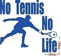 カッティングステッカー No Tennis No Life (テニス)・5 約180mm×約195mm ブルー 青