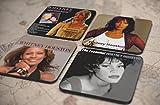20種類!人気レア!《ホイットニー・ヒューストン/Whitney Houston》オリジナル・アルバム ジャケット デザイン コルク製 コースター 4個セット (17-20) [並行輸入品]