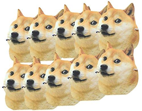 大量 セット 犬 お面 かわいい マスク ひも 付き 柴犬 可愛い 盆踊り ハロウィン パーティー (c 10枚)