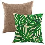 Lipinea クッションカバー 45 * 45 cm ボタニカル 綿麻 グリーン モンステラ 植物柄 無地 セット LC-001 (03.ボタニカル Bセット)