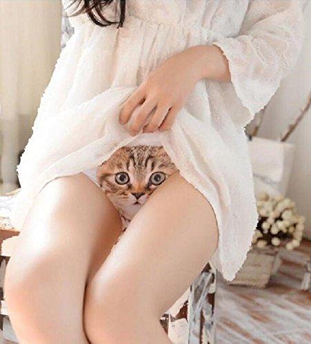 Mr.Pro レディース 無縫製 可愛い 3D猫パンツ ヒップハングショーツ フルバック スタンダード ノーライン 女性のセクシーなヒップスターセイフティキャット見えない下着