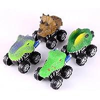 sukeqノベルティ4パックAssorted動物車、恐竜モデルMini Pull Back車トラックのおもちゃギフト子供の日、誕生日、新しい年、クリスマス