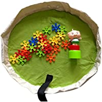 (Green) - Julvie Kids Portable Mini Play Mat and Toy Storage Bag Organiser for Legos Or Any Other Small Toys