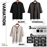 (Make 2 Be) メンズ 5分袖 Tシャツ フード付き ゆったり ドロップショルダー レイヤード カジュアル シャツ プルオーバー MF74 画像