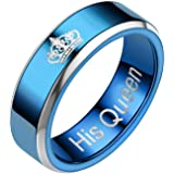 COMVIP 8mm 1pc Blue Stainless Steel Wedding Band Lover Engagement Ring