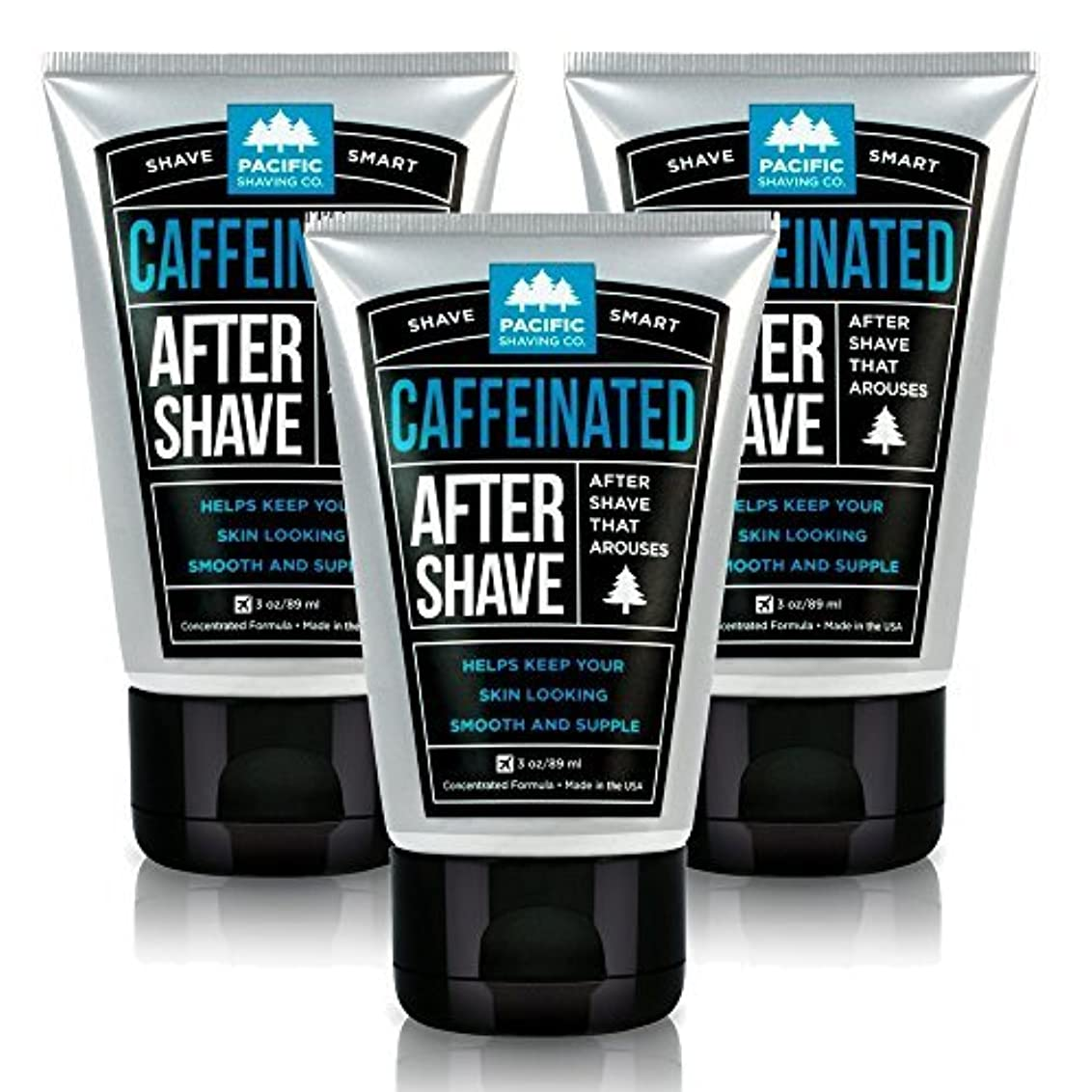 宇宙のきらめく敵意Pacific Shaving Company Caffeinated Aftershave 3 Pack [並行輸入品]