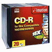 Imation CDR 700MBレコーダーメディア80分12x小売( 20-pack with Slimline Cases )