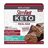 SlimFast Keto Meal Replacement Bar, Whipped Triple Chocolate, 5 Count, Pack of 1