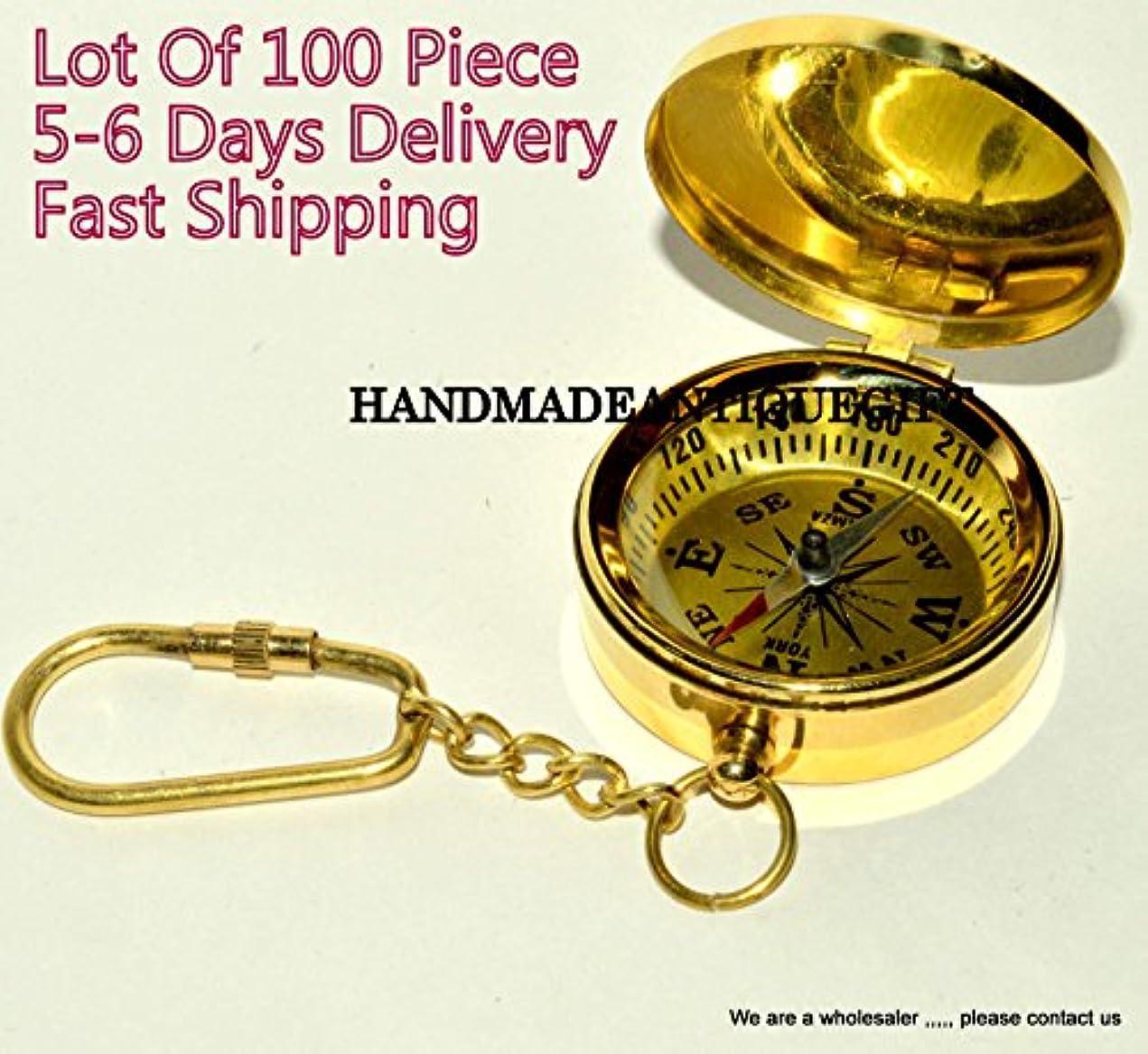蒸し器ドライバ魂Lot of 100 Nautical Maritimeヴィンテージスタイル真鍮ポケットコンパスキーチェーン2