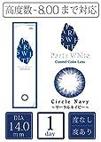 パーツホワイト ワンデー 14.0mm 度あり 度なし カラコン カラーコンタクト 1箱12枚入り (-6.00,#01 サークルネイビー)